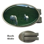 Two White Horses 0002 Money Clip (Oval)