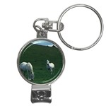 Two White Horses 0002 Nail Clippers Key Chain