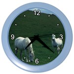 Two White Horses 0002 Color Wall Clock