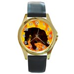 Hellhound Round Gold Metal Watch