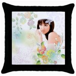 flower lady - Throw Pillow Case (Black)