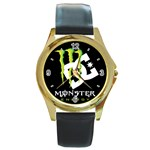 Monster Energy DC Round Gold Metal Watch