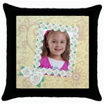 girl of flower - Throw Pillow Case (Black)