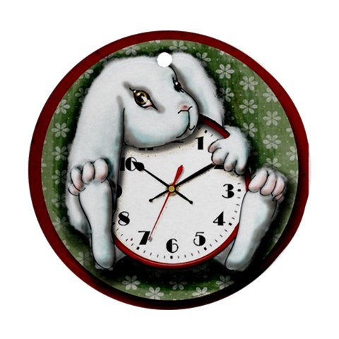 White Rabbit Ornament By Doris Redrupp   Ornament (round)   Xrp8oja0mqh8   Www Artscow Com Front