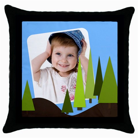 Funny Kids By Wood Johnson   Throw Pillow Case (black)   Yey5l8ric6wp   Www Artscow Com Front