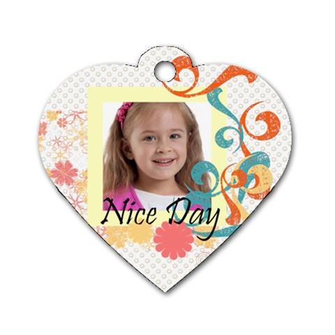 Kids Tag By Wood Johnson   Dog Tag Heart (one Side)   9n6rsy5tnr9r   Www Artscow Com Front