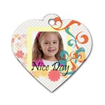 kids tag - Dog Tag Heart (One Side)