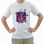PATRIOTIC HAT WITH FIREWORKS White T-Shirt