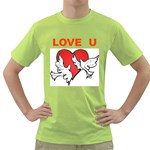doves with heart Green T-Shirt