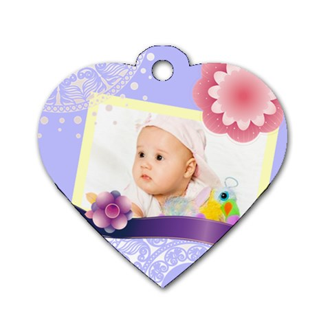 Flower Baby By Wood Johnson   Dog Tag Heart (one Side)   7uxf9ztguwgx   Www Artscow Com Front