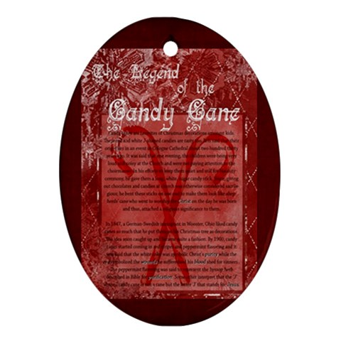 The Legend Of The Candy Cane Ornament By Kellie   Ornament (oval)   Qsuztjxqh2sj   Www Artscow Com Front