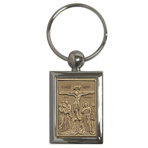 Easter Crucifixion Keyring By Catvinnat   Key Chain (rectangle)   Fxja28mmbamm   Www Artscow Com Front