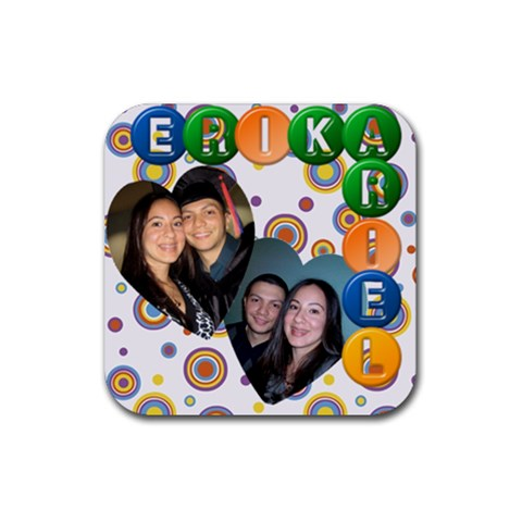 Ary & Erika Coaster 2 * By Diana P   Rubber Coaster (square)   Yj4ojqhg5toq   Www Artscow Com Front