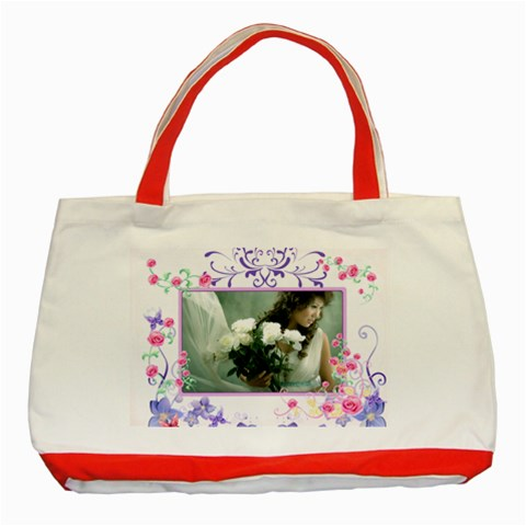 Flower By Wood Johnson   Classic Tote Bag (red)   7jt3oymydb0z   Www Artscow Com Front