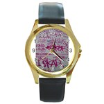 grafitti Round Gold Metal Watch