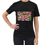 flowers Women s Black T-Shirt