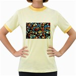 gloss-paint Women s Fitted Ringer T-Shirt