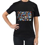 gloss-paint Women s Black T-Shirt (Two Sides)