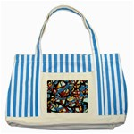 gloss-paint Striped Blue Tote Bag