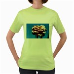 flower-bv5wa Women s Green T-Shirt