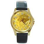 flower-07 Round Gold Metal Watch