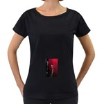 watermark2 Maternity Black T-Shirt