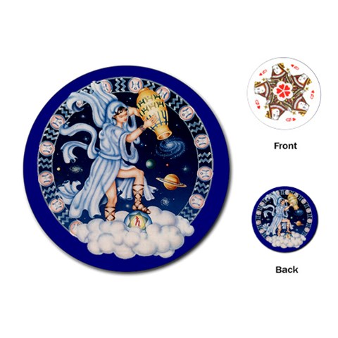 Aquarius Zodiac Playing Cards By Enkay   Playing Cards (round)   4io61l8ca07n   Www Artscow Com Front
