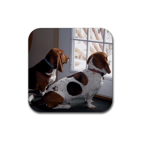 Basset Hounds Looking Out The Window By Leigh Reeves   Rubber Coaster (square)   0q0yy6gro9yq   Www Artscow Com Front