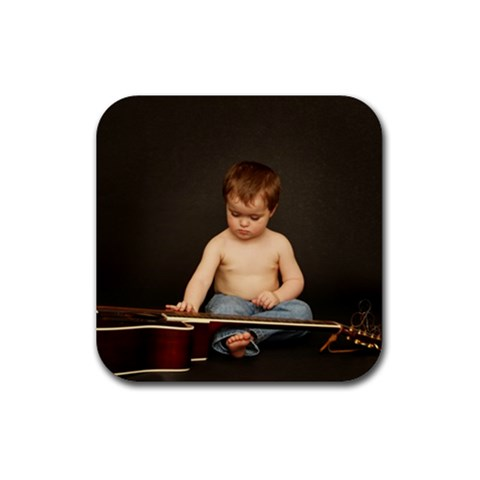 Dylan Loves His Daddy s Guitars! By Jessica   Rubber Coaster (square)   9gh7g6l4zznv   Www Artscow Com Front
