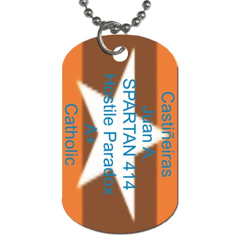 Spartan Dogtag By Juan Castineiras   Dog Tag (one Side)   Dsl4iyvdqgul   Www Artscow Com Front