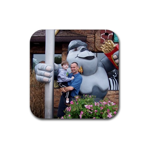 Bob And Jake At The Cool Mickey D s By The Dallas Zoo By Tonya   Rubber Coaster (square)   Fjmowzdwd9ix   Www Artscow Com Front