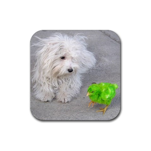 Mochi And His Pollo  By Wendolin Zenteno Nguyen   Rubber Coaster (square)   Dljgprapdiff   Www Artscow Com Front