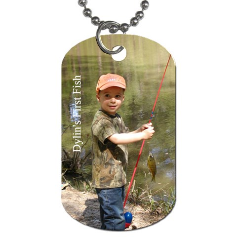 Dylin First Fish   Dog Tag By Elizabeth Condarco   Dog Tag (one Side)   Eu05obichs4h   Www Artscow Com Front