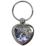 Waterfall and kids and all. - Key Chain (Heart)