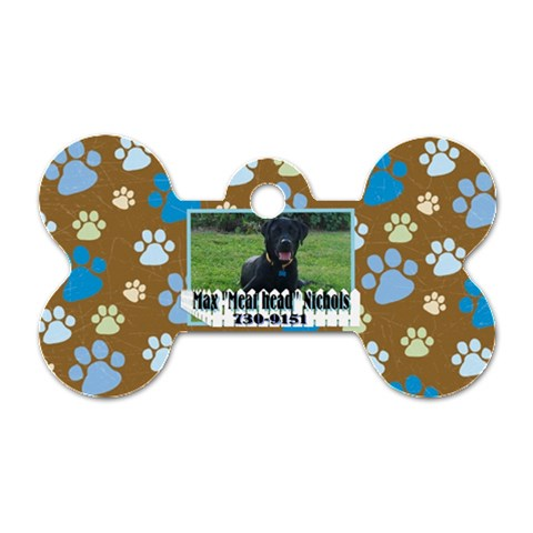 Max s Collar Tag By Shari Nichols   Dog Tag Bone (one Side)   0sslquc4jzce   Www Artscow Com Front