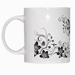 Coffee Mug Black Flower Pattern By Jyothi   White Mug   T4v0cagl5jri   Www Artscow Com Left