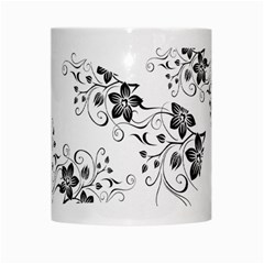 Coffee Mug Black Flower Pattern By Jyothi   White Mug   T4v0cagl5jri   Www Artscow Com Center