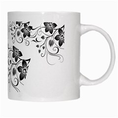 Coffee Mug Black Flower Pattern By Jyothi   White Mug   T4v0cagl5jri   Www Artscow Com Right
