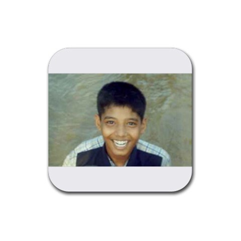 A Laughing Boy By Vinoth   Rubber Coaster (square)   Jcbyugzk4kn3   Www Artscow Com Front