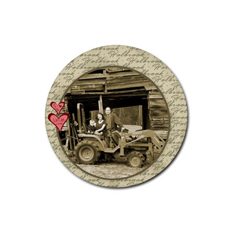 Dylan Loves His Daddy s Tractor! By Jessica   Rubber Coaster (round)   2ts8184mugf6   Www Artscow Com Front