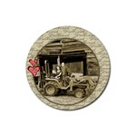 Dylan loves his daddy s tractor! - Rubber Coaster (Round)