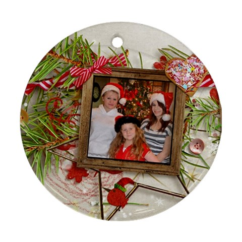My Girls Christmas Ornament By Kellie Simpson   Ornament (round)   Rmuodlfyljmy   Www Artscow Com Front