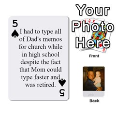 Memories Of Dad By Erica   Playing Cards 54 Designs (rectangle)   Ji0dbkozetpg   Www Artscow Com Front - Spade5