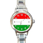 big_Hungarian_flag Round Italian Charm Watch