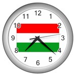 big_Hungarian_flag Wall Clock (Silver)