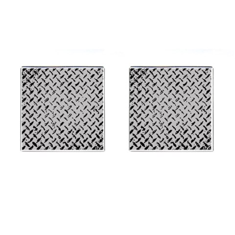 Grey Diamond Plate By Alana   Cufflinks (square)   Quagd5imufox   Www Artscow Com Front(Pair)