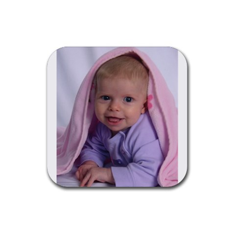 K  With Blanket On Her Head Coaster By Jen   Rubber Coaster (square)   Moua8ugzpn1d   Www Artscow Com Front
