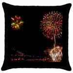 fireworks-color Throw Pillow Case (Black)
