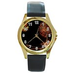 fireworks-color Round Gold Metal Watch