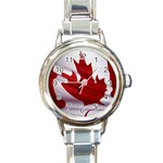 canadian-flag Round Italian Charm Watch